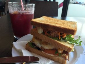 Vegetable sandwich and Sangria